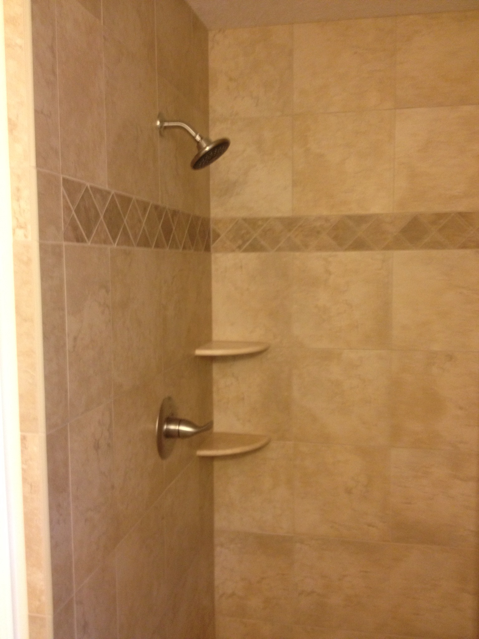 Pictures Of Bathroom Tile Showers : Tan tile shower custom home remodeling in gulfport ms