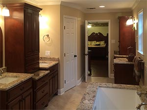 Master bathroom remodel with custom vanities