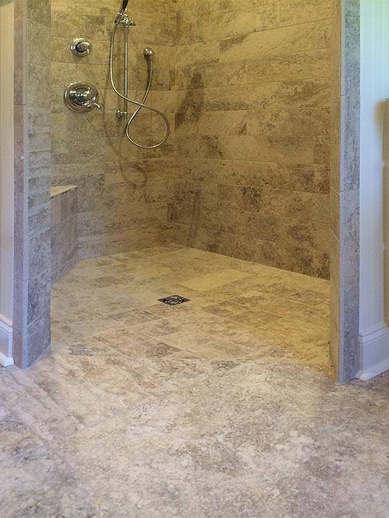 This Barrier Free Shower Stall Showcases Custom Tile Work And The Seamless  Floor Is Designed